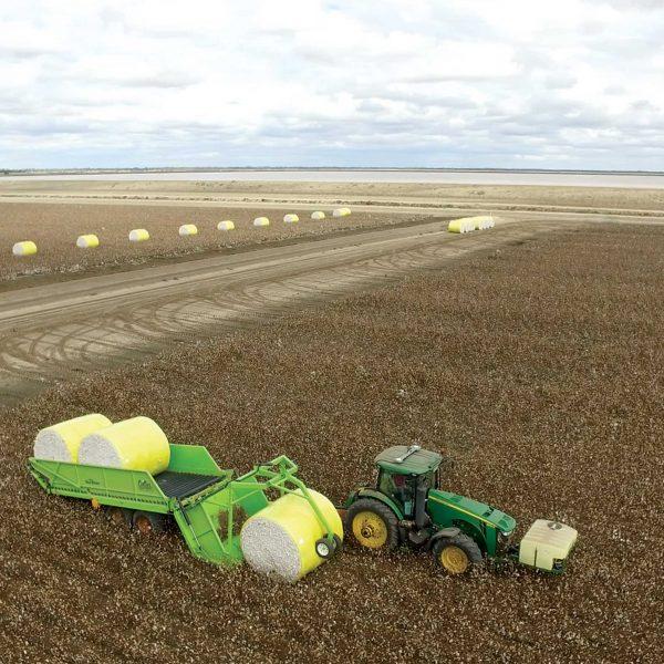 Bale Runner in field loading cotton bale