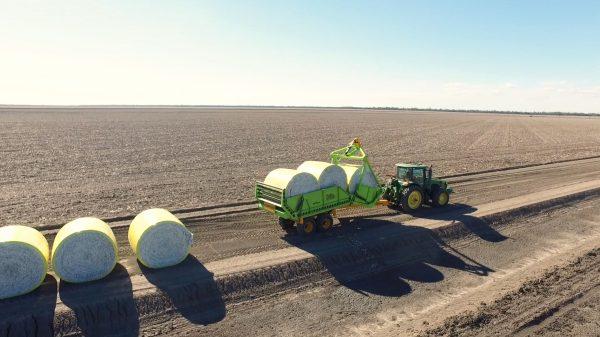 3-Bale Bale Runner full load of cotton bales
