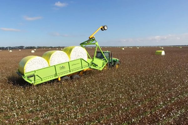 Bale Runner in the Field about to pick up Cotton Bale